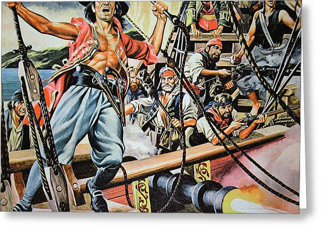 Pirates preparing to board a Victim Vessel  Greeting Card by American School