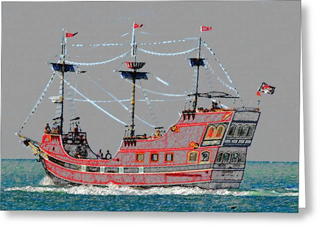 Boat Cruise Digital Greeting Cards - Pirates Ransom Greeting Card by David Lee Thompson