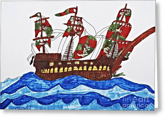 Pirate Ships Drawings Greeting Cards - Pirates Ship Greeting Card by Stephanie Ward