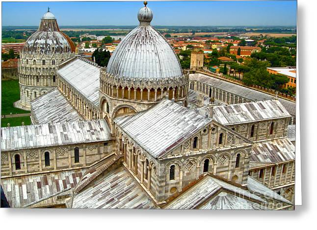 Gregory Dyer Greeting Cards - Pisa Cathedral from the Leaning Tower Greeting Card by Gregory Dyer