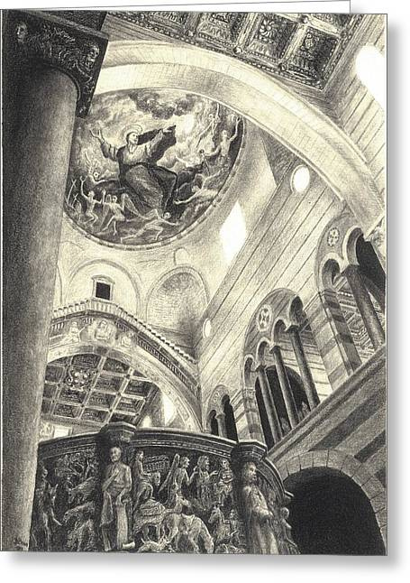 The Bean Drawings Greeting Cards - Pisa Duomo Greeting Card by Norman Bean