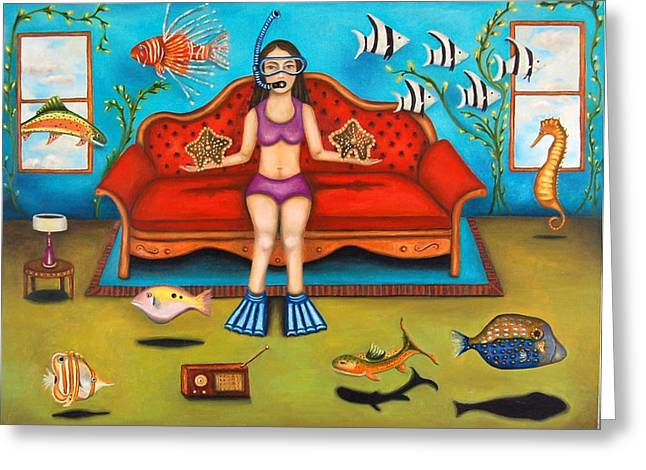 Pisces 3 Greeting Card by Leah Saulnier The Painting Maniac