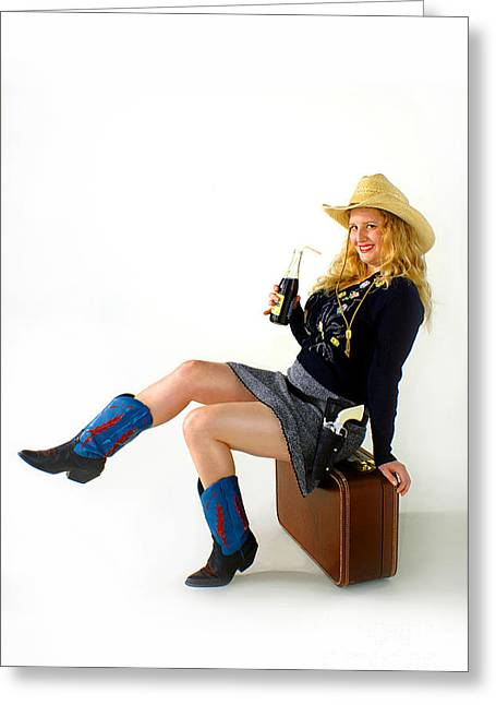 Cowgirl Skirt Greeting Cards - Pistol Packin Pinup Model Greeting Card by Gib Martinez