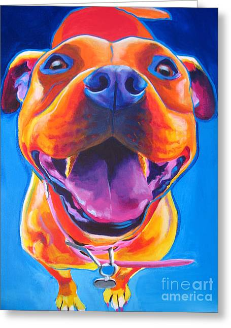 Alicia Vannoy Call Paintings Greeting Cards - Pit Bull - Lots to Love Greeting Card by Alicia VanNoy Call