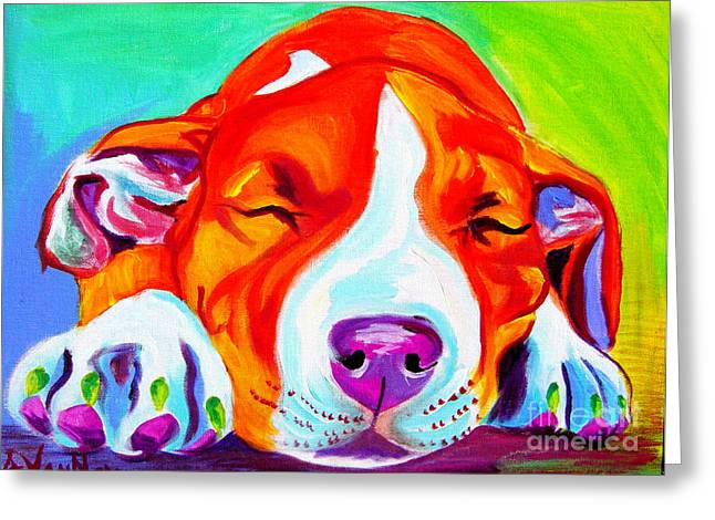 Alicia Vannoy Call Greeting Cards - Pit Bull - Naptime Greeting Card by Alicia VanNoy Call