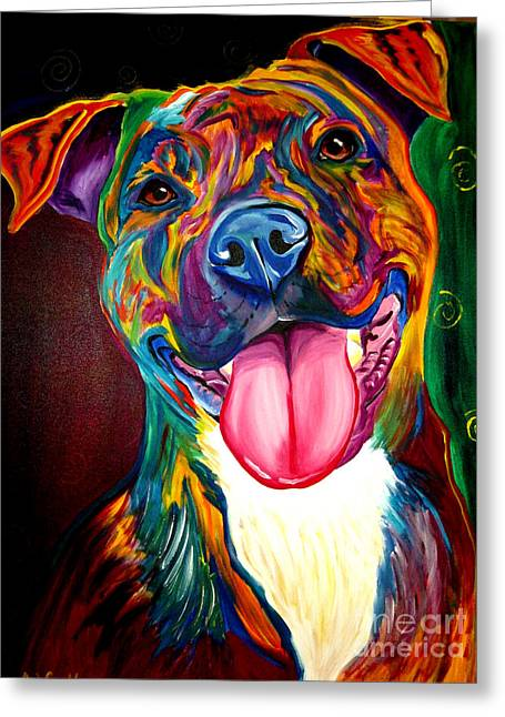 Whimsical Dog Art Greeting Cards - Pit Bull - Olive Greeting Card by Alicia VanNoy Call