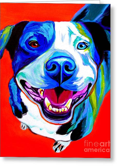 Alicia Vannoy Call Greeting Cards - Pit Bull - Grin Greeting Card by Alicia VanNoy Call