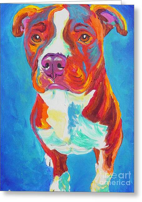 Alicia Vannoy Call Greeting Cards - Pit Bull - Puppy Dog Eyes Greeting Card by Alicia VanNoy Call