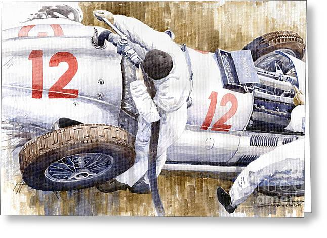 1939 Greeting Cards - Pit Stop German GP 1939 Mercedes Benz W154 Rudolf Caracciola Greeting Card by Yuriy  Shevchuk