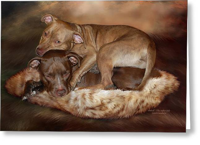 Canines Mixed Media Greeting Cards - Pitbulls - The Softer Side Greeting Card by Carol Cavalaris