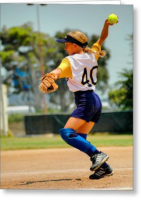 Girls Softball Greeting Cards - Pitcher No 40 Greeting Card by Richard Omura