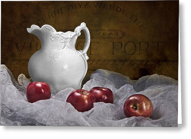 Fresh Picked Fruit Greeting Cards - Pitcher with Apples Still Life Greeting Card by Tom Mc Nemar