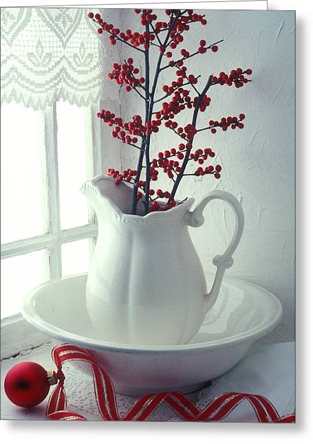 Red Berries Greeting Cards - Pitcher with red berries  Greeting Card by Garry Gay