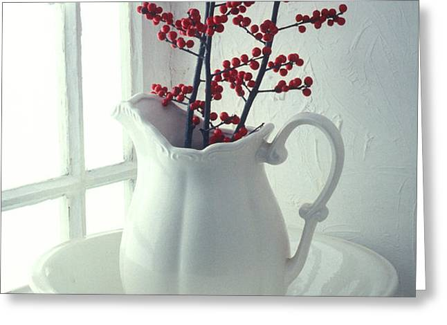 Pitcher with red berries  Greeting Card by Garry Gay