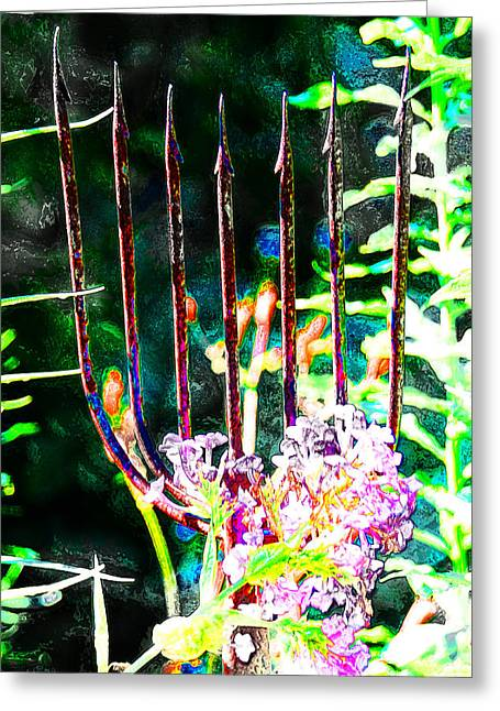 Garden Decoration Greeting Cards - Pitchfork Greeting Card by Simone Hester