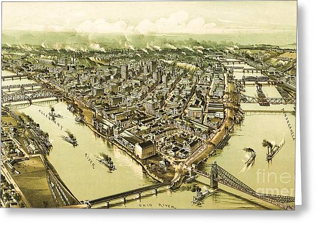 Birdseye Greeting Cards - Pittsburg Pennsylvania Greeting Card by Pg Reproductions