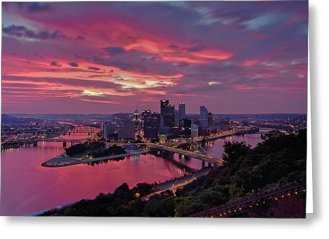 Rachel Carson Greeting Cards - Pittsburgh Dawn Greeting Card by Jennifer Grover