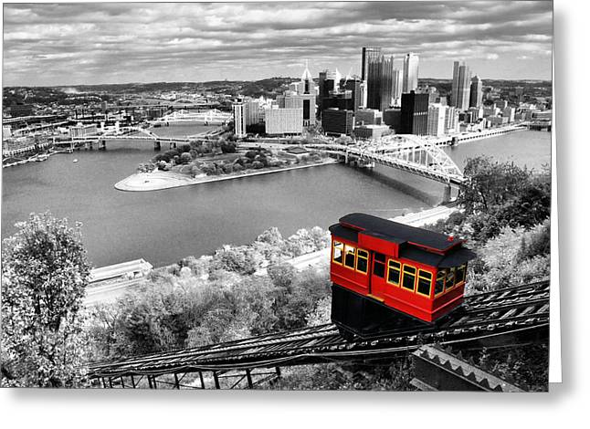 Pnc Park Digital Art Greeting Cards - Pittsburgh From The Incline Greeting Card by Michelle Joseph-Long