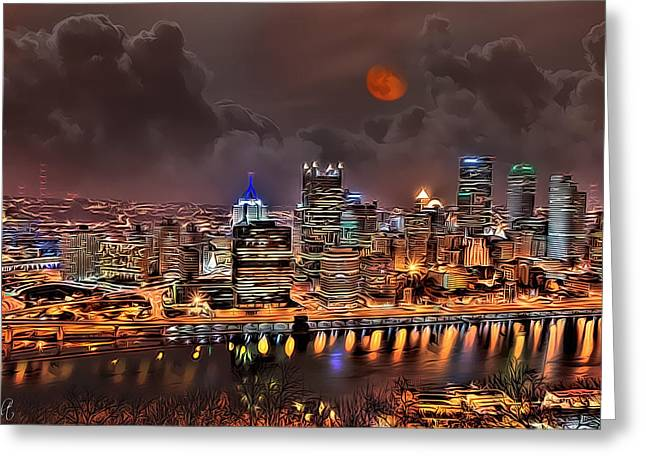 Pittsburgh Drawings Greeting Cards - Pittsburgh Night Lights Greeting Card by Jason Wilt
