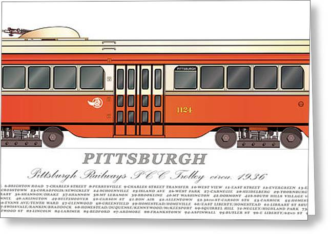 Pcc Greeting Cards - Pittsburgh PCC Trolley circa 1936 Greeting Card by Carlos F Peterson