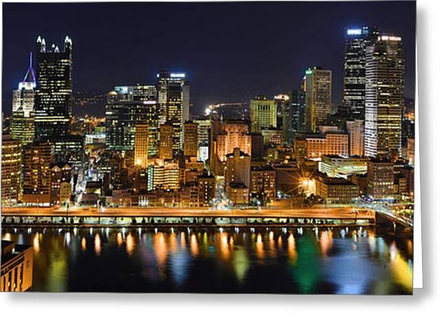 City Greeting Cards - Pittsburgh Pennsylvania Skyline at Night Panorama Greeting Card by Jon Holiday