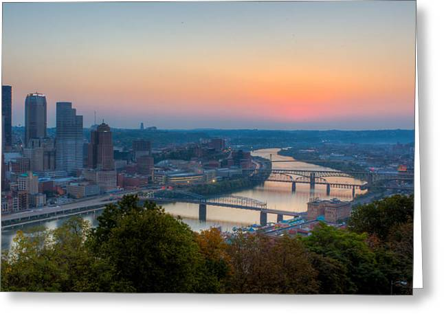 Allegheny Greeting Cards - Pittsburgh Pre-Dawn Greeting Card by David Hahn