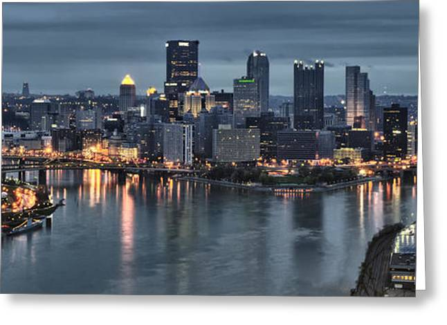 Pittsburgh Skyline. Greeting Cards - Pittsburgh Skyline 2 Greeting Card by Wade Aiken