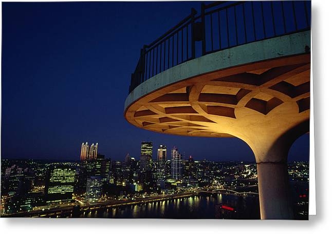 River Of Life Greeting Cards - Pittsburgh Skyline At Night From Mt Greeting Card by Lynn Johnson