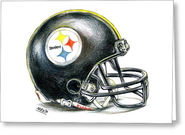 Super Bowl Greeting Cards - Pittsburgh Steelers Helmet Greeting Card by James Sayer