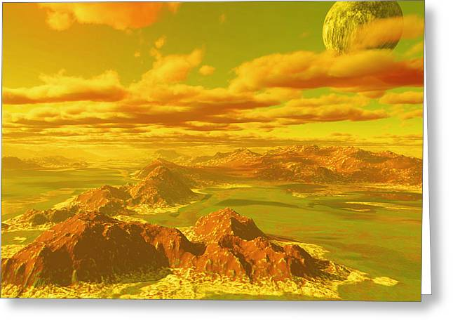 Terragen Greeting Cards - Pius Moon Greeting Card by Napo Bonaparte