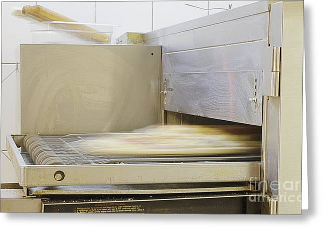 Conveyor Belt Greeting Cards - Pizza Making Oven Greeting Card by Magomed Magomedagaev