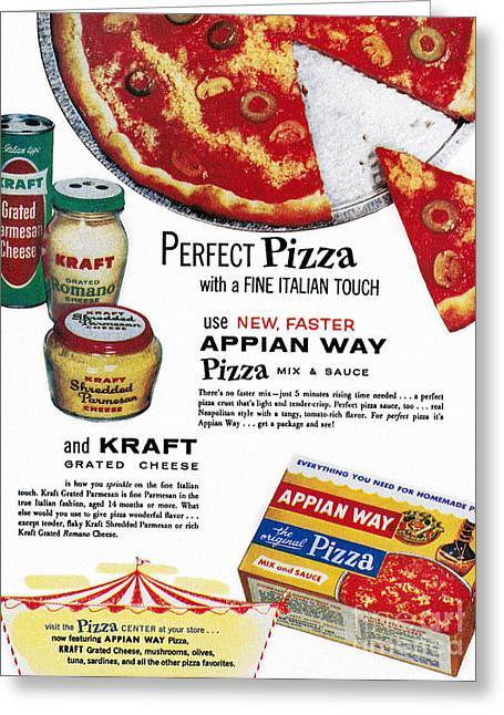 Grate Photographs Greeting Cards - Pizza Mix Ad, 1960 Greeting Card by Granger