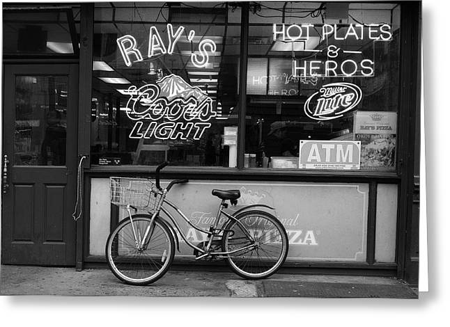 Chelsea Greeting Cards - Pizza Place Greeting Card by Christian Heeb