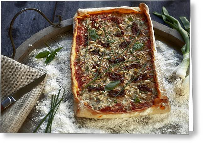 Swiss Cheese Greeting Cards - Pizza with herbs Greeting Card by Joana Kruse
