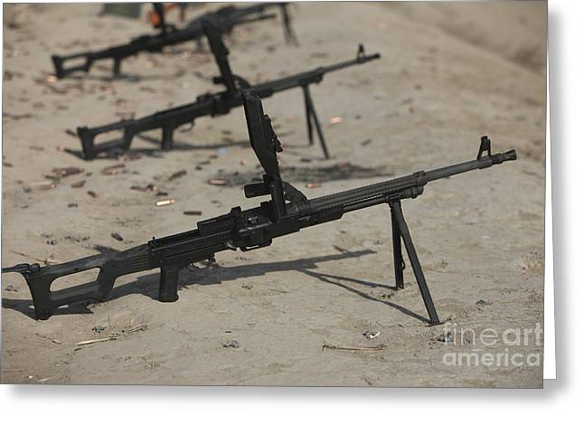 Pk Greeting Cards - Pk General-purpose Machine Guns Stand Greeting Card by Terry Moore
