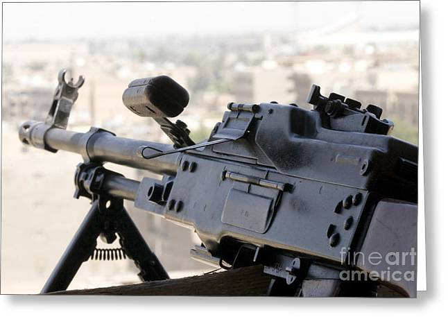 7.62mm Greeting Cards - Pkm 7.62 Machine Gun Nest On Top Greeting Card by Terry Moore