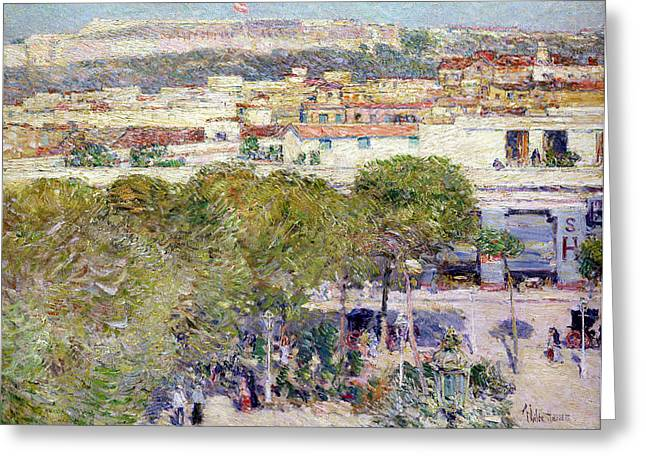 People Walking Greeting Cards - Place Centrale and Fort Cabanas - Havana Greeting Card by Childe Hassam