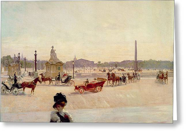 Obelisk Greeting Cards - Place de la Concorde - Paris  Greeting Card by Georges Fraipont