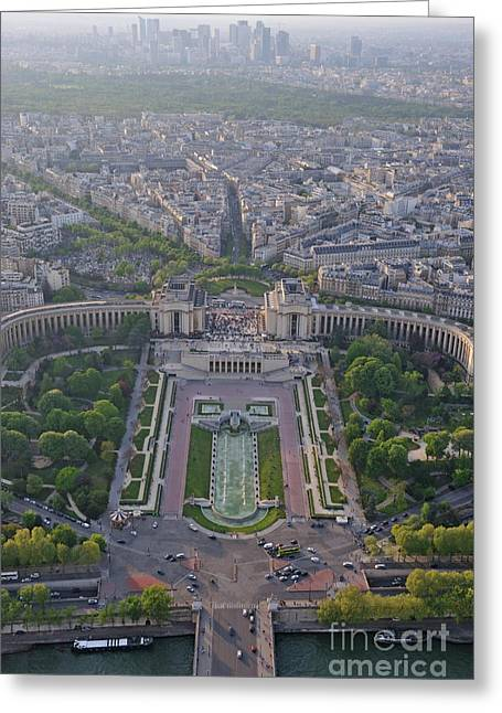 Quartier Greeting Cards - Place du Trocadero and La Defenses  skyscraper Greeting Card by Sami Sarkis