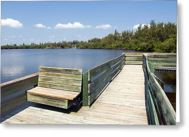 St. Lucie County Greeting Cards - Place for fishing or just sitting at Round Island in Florida  Greeting Card by Allan  Hughes