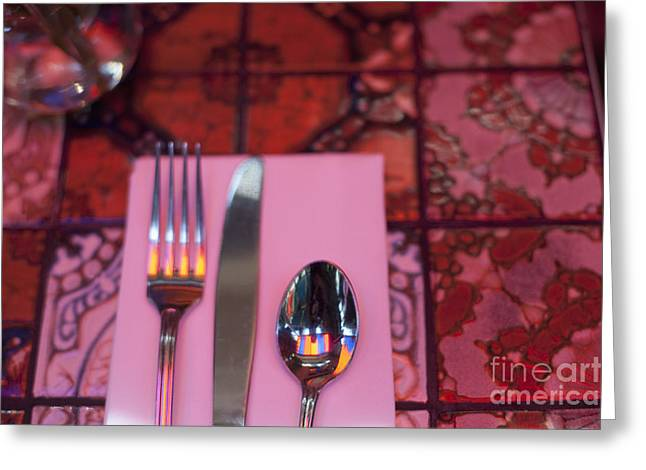 Claremont Greeting Cards - Place Setting Greeting Card by Sam Bloomberg-rissman