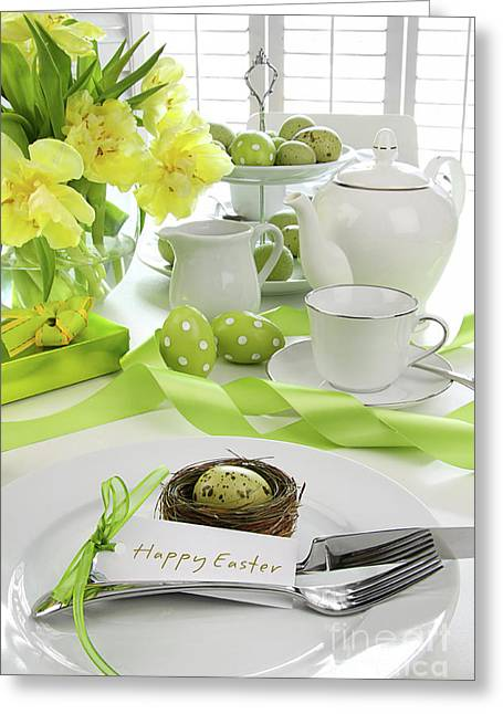Place Setting With Card For Easter Brunch Greeting Card by Sandra Cunningham
