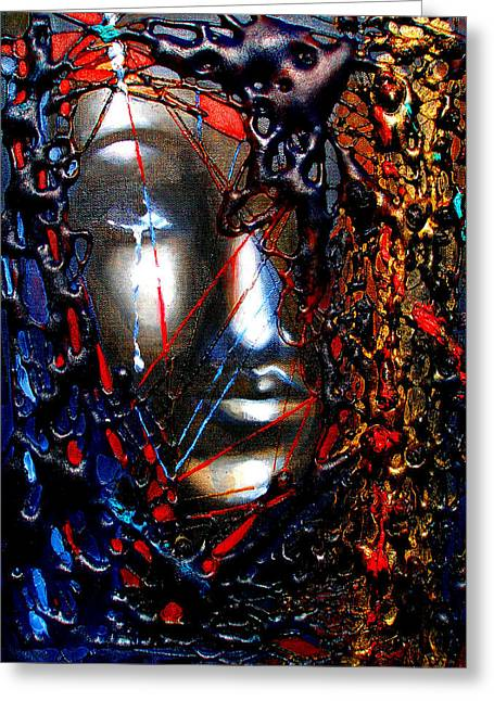 Spiritual Portrait Of Woman Greeting Cards - Places of Peace-No More Sorrow Greeting Card by Susi Franco