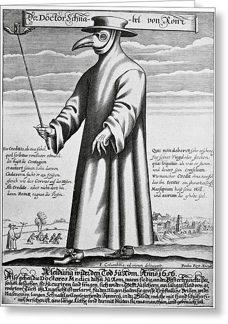 Doctor J Greeting Cards - Plague Doctor, 17th Century Artwork Greeting Card by