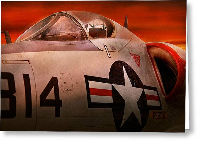 Jet Star Photographs Greeting Cards - Plane - Pilot - Airforce - Go get em Tiger  Greeting Card by Mike Savad