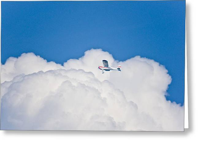 Commuter Plane Greeting Cards - Plane in the Clouds Greeting Card by Danny Jones