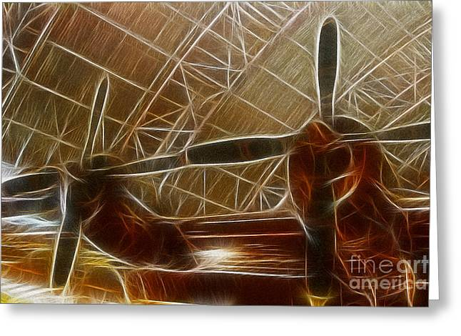 Fractalius Greeting Cards - Plane In The Hanger Greeting Card by Paul Ward