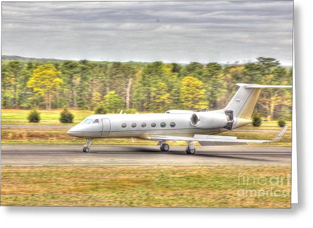 Hdr Photo Greeting Cards - Plane Landing Air Brakes Blur Background Greeting Card by Pictures HDR