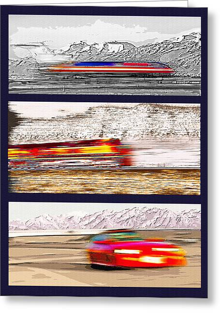 Industrial Concept Mixed Media Greeting Cards - Planes Trains Automobiles Triptych Greeting Card by Steve Ohlsen