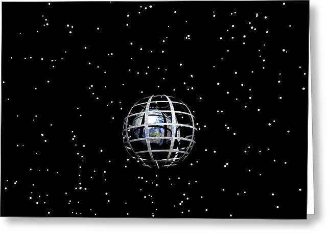 Planet And Stars Greeting Card by Odon Czintos